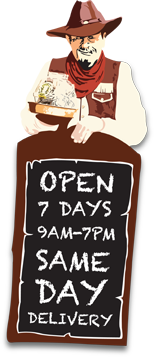 Balloon Saloon is open 7 Days a week from 9AM to 7PM offering Same Day Delivery.